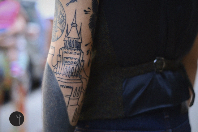 Tattoo traditional black and grey castle